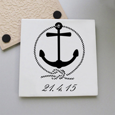 Nautical Anchor Personalized Tile Coaster