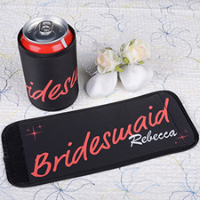 Red Bridesmaid Personalized Can And Bottle Wrap