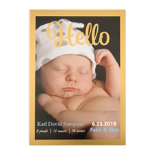Hello Foil Gold Frame Personalized Photo Birth Announcement, 5X7 Cards