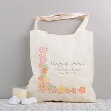Floral Collection Personalized Wedding Cotton Tote Bag