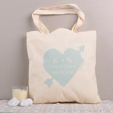 Aqua Heart Arrow Personalized Cotton Tote Bag