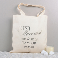 Just Married Personalized Cotton Wedding Tote Bag
