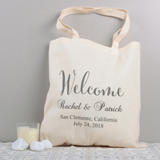 Welcome Personalized Wedding Cotton Tote Bag