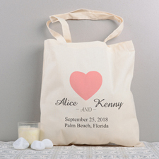 Love Story Personalized Cotton Wedding Tote Bag