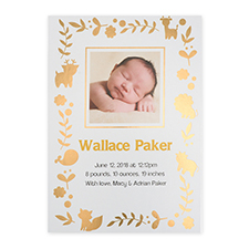 Foil Gold Animal Kingdom Personalized Photo Birth Announcement Cards