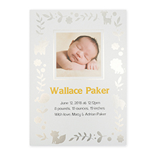 Foil Silver Animal Kingdom Personalized Photo Birth Announcement Cards