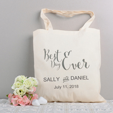 Best Day Ever Personalized Wedding Cotton Tote Bag