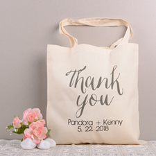 Thank You Personalized Cotton Wedding Tote Bag
