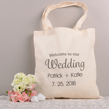 Welcome To Our Wedding Personalized Cotton Tote Bag