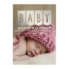 Baby Silver Foil Photo Birth Announcement Card, 5x7