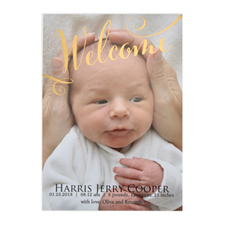Welcome Foil Gold Photo Birth Announcement, 5X7 Cards