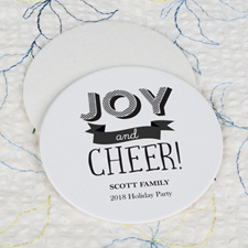 Joy And Cheer Cardboard Round Coaster Custom Print