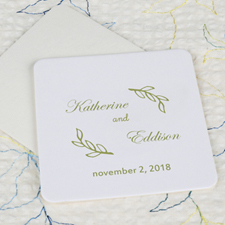 Fern Wedding Cardboard Square Coaster Custom Print