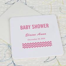 Baby Shower Square Cardboard Pink Coaster Custom Print