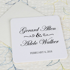 Classic Wedding Cardboard Square Coaster Custom Print