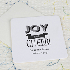 Joy And Cheer Cardboard Square Coaster Custom Print