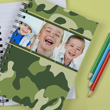 Personalized Camo Green Collage Notebook