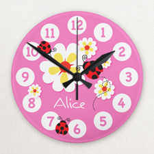 Pink Ladybug Personalized Acrylic Clock Custom Printed