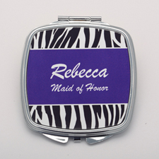 Zebra Skin Purple Personalized Round Compact Mirror