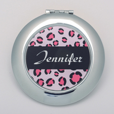Leopard Skin Personalized Round Compact Mirror