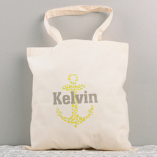 Cute Nautical Anchor Personalized Cotton Tote Bag