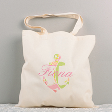 Colorful Nautical Anchor Personalized Cotton Tote Bag