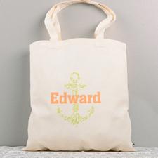 Lime Nautical Anchor Cotton Tote Bag