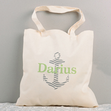 Navy Nautical Anchor Personalized Cotton Tote Bag
