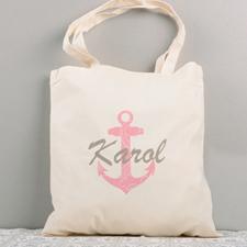 Fuchsia Nautical Anchor Personalized Cotton Tote Bag