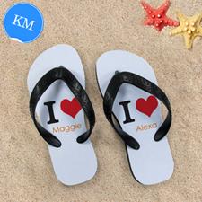 I Love Personalized Flip Flops, Kid's Medium