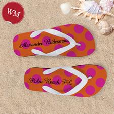 Mandarin Fuchsia Dot Personalized Flip Flops, Women Medium