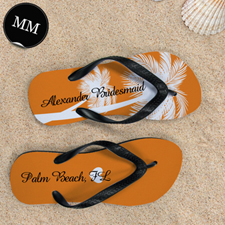 Mandarin Palm Tree Personalized Flip Flops, Men Medium