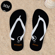 Black Wedding Ring Personalized Flip Flops White Straps, Men Medium