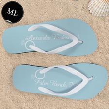 Ocean Wedding Ring Personalized Flip Flops, Men Large