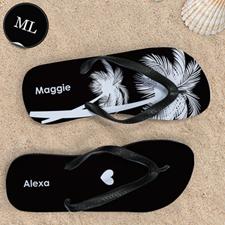 Black Palm Tree Personalized Flip Flops, Men Large