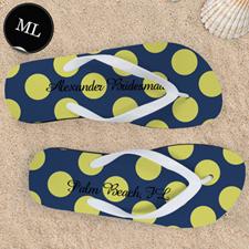 Yellow Large Dot Personalized Flip Flops, Men Large