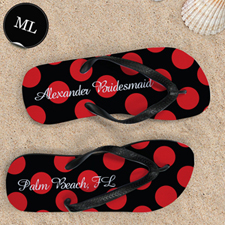 Red Large Dot Personalized Flip Flops, Men Large