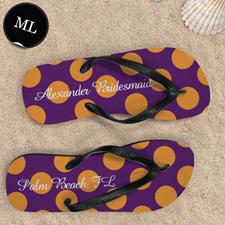 Mandarin Large Dot Personalized Flip Flops, Men Large