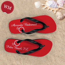 Red Wedding Ring Personalized Flip Flops, Women Medium