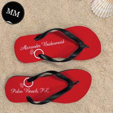 Red Wedding Ring Personalized Flip Flops, Men Medium