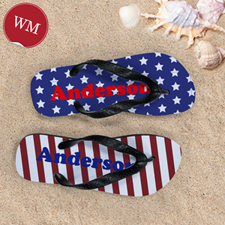 Stars & Stripes Personalized Flip Flops, Women Medium