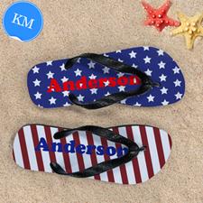 Stars & Stripes Personalized Flip Flops, Kids Medium