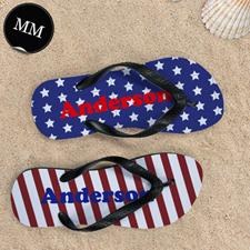 Stars & Stripes Personalized Flip Flops, Men Medium