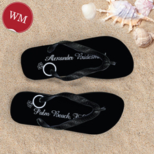 Black Wedding Ring Personalized Flip Flops, Women Medium