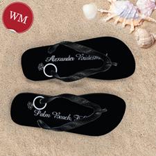Black Wedding Ring Personalized Flip Flops, Women Medium
