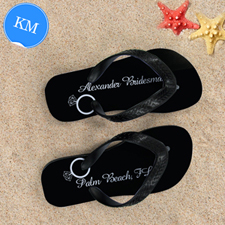Black Wedding Ring Personalized Flip Flops, Kids Medium