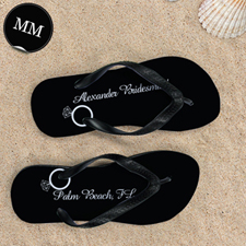 Black Wedding Ring Personalized Flip Flops, Men Medium