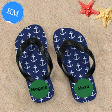 Navy Anchor Personalized Flip Flops, Kid Medium