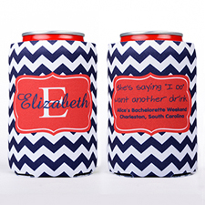 Navy Chevron Frame Personalized Can Cooler