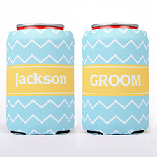 Ocean Chevron Stripe Personalized Can Cooler